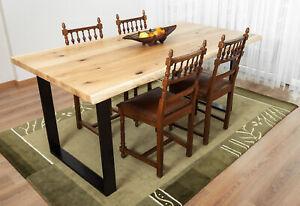Massivholztisch 240x100cm aus Eiche 4cm mit Baumkanten+Metallkufen American OAK