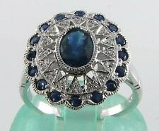 LARGE 9K 9CT WHITE GOLD DECO INS Sri Lankan BLUE SAPPHIRE & DIAMOND RING