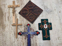5 Vintage Religious Crucifix Cross Lot  Wood Plastic Needlepoint Stained Glass