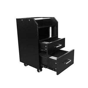 GLASGlOW BLACK Rolling Pedicure Trolley Cart Storage Cabinet Glass Top