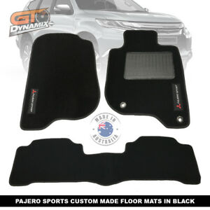 Custom Made BLACK Floor Mats MITSUBISHI PAJERO SPORTS GLX GLS EXCEED 1/2016-20