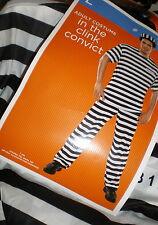 Adult Mens CONVICT Prisoner COSTUME L Prison CLINK NEW 3pc TOP PANTS HAT Stripes