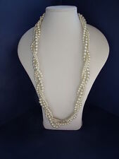 New Twisted Long Pale Cream Faux Pearl Necklace of 4 strands