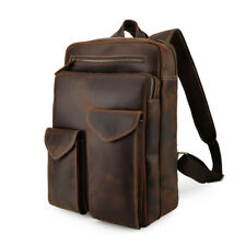 "Men Leather Backpack Travel Bag 14"" Laptop Satchel School Bag Outdoor Daypack"