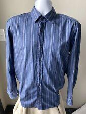 Hugo Boss Men's Shirt Blue Striped Size Large (L)
