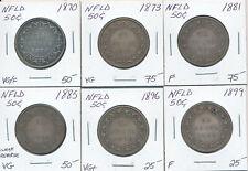 NEWFOUNDLAND LOT OF 6 VICTORIA 50 CENTS 1870-1899 - VG-F