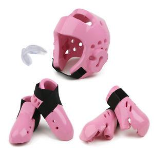 New Karate Sparring Gear set Kids Foam Headgear,Hand,Foot Protectors Guards PINK