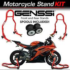 Red Bike Stand Kit Front & Rear Lift Spool Package for Yamaha YZF-R6 R6S