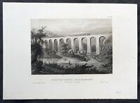 1852 H. Meyer Antique Print View of Starrucca Viaduct,  Lanesboro, Pennsylvania