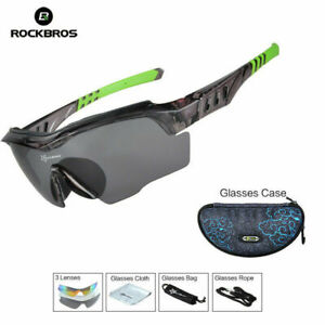 ROCKBROS Polarized Cycling UV400 Glasses PC Bike Sunglasses with 3 Lens Green