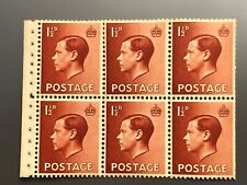 Royal Mail GB (SG459) PB3a Edward VIII MNH Booklet Pane 6 Wmk Invtd Perf Type E