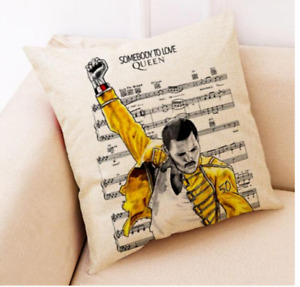 """QUEEN - FREDDIE MERCURY - Rock Singer 17"""" Square Cushion Cover Pillow Case Gift"""