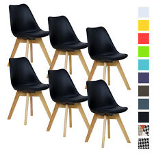 6er Set Esszimmerstühle Design Esszimmerstuhl Küchenstuhl Holz Schwarz BH29sz-6