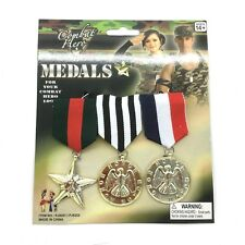 Military Medals 3 Medals Fancy Costume Novelty Army Brooch