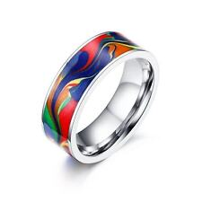 Stainless Steel Enamel Ring Multi-Color Ring-Silver-Gold- Size 7-8-9-10-11-12