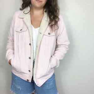 OLD NAVY | Women's Large Blush Pink Corduroy Denim Sherpa Lined Trucker Jacket