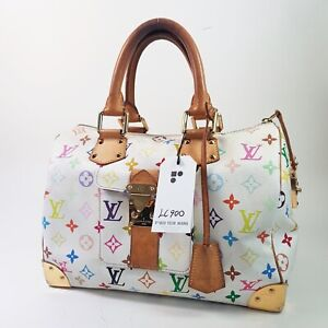 Authentic Louis Vuitton Speedy 30 Monogram Multicolor Blanc M92643 Genuine LC900