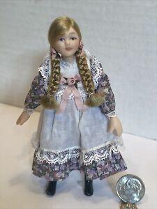 Vintage Artisan Porcelain Pretty Pre Teen Girl Doll Dollhouse Miniature 1:12 EUC