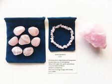 Rose Quartz Set -7 Tumbled Stones, 1 Natural Rough Stone, Gemstone Chip Bracelet