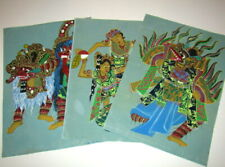 3 Old Pictures, Possibly Asian Paintings. Strange Creatures or Gods on Fabric