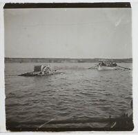 Indocina Navigazione Fiume Foto Placca Da Lente Stereo Vintage Ca 1910