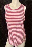 MICHAEL michael kors pink & white strip sz Medium tank top womens gold logo cute