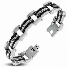 Bracelet With Link Panther Stainless Steel With Rubber Black 172