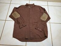 FIRETHORN SILVER Brown LONG SLEEVE SHIRT Leather SUEDE ELBOW PATCHES XL PS547