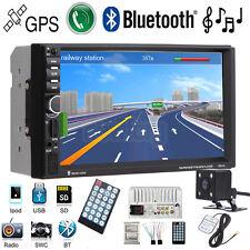 GPS Navigation HD Double 2DIN Car Stereo MP3 Player Bluetooth iPod MP3 TV+Camera