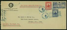 Dominican Republic 1929 Airmail Cover Puerto Plata to Il w/ Scott C1, 251, 252