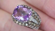 New 10K 5ct Natural Amethyst & 1ct Champagne / White Diamond Statement Ring Gold