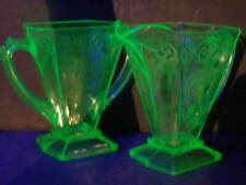 2~30s Green Depression Indiana Lorain Basket Vaseline Glass Cr &Su Creamer Sugar