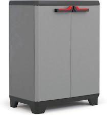 Keter Low Cabinet Cupboard Stilo 2 Shelf Lockable Indoor Garage Storage