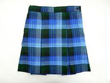 Girls Rifle/Kaynee Blue & Green Plaid Pleated School Uniform Skirt Sizes 6 - 18