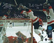 Autographed 8x10 Bobby Clarke, Reggie Leach & Bill Barber Flyers photo - w/Coa