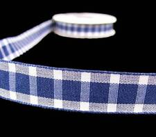 "5 Yd SALE Navy Blue White Plaid Ribbon 5/8""W"