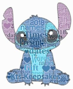 word art picture personalised gift present keepsake lilo and stitch birthday