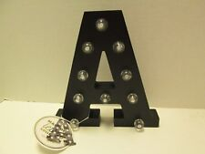 "Initial ""A"" LED Lighted Sign, Marquee Letter Collection, Black Wood, NWT"