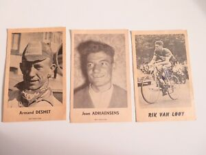 1950,s lot of 3 cycling cards Rik van Looy , Armand Desmet,Jean Adriaensens