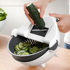 Multifunction Magic Rotate Vegetable Cutting Cleaning Slicer with 7 Cutter Head