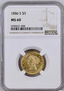 1886 Gold $5 Half Eagle NGC MS 60