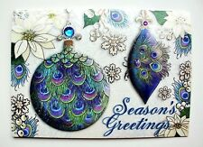 *PUNCH STUDIO Set of 4 Silver Foil Dimensional Christmas Cards~Peacock Ornaments