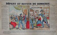 Rare Vintage Imagerie Epinal Pellerin print/Départ et Retour du ConscritINV2299A