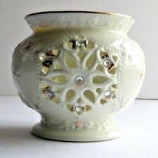 Formalities Baum Bros Snowflake with Jewel Gold Accent Porcelain Candle Holder