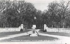 Webster City Iowa~Kendall Young Park~Stone Wall~Pillars~Park Rules~1960 RPPC