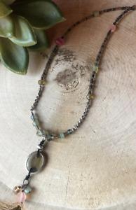 Silver necklace 925 Rhodi\u00e9  Aventurine stone