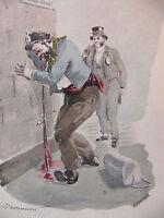 Simili Aquarelle L'oeuvre de Zola 1898 par H Lebourgeois L'assomoir