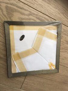 Vintage box of 3 x white and yellow cotton British made handkerchiefs