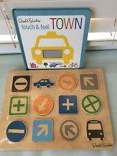 Dwell Studio Wooden Signs Puzzle Ages 3+, Includes Touch & Feel Book
