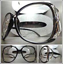 6506d9857db2f OVERSIZED VINTAGE RETRO Style Clear Lens EYE GLASSES Large Black   Silver  Frame